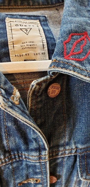 Guess By Marciano Super Cute Lots Of Detail Patch Work Indigo Blue Womens Jean Jacket Image 5