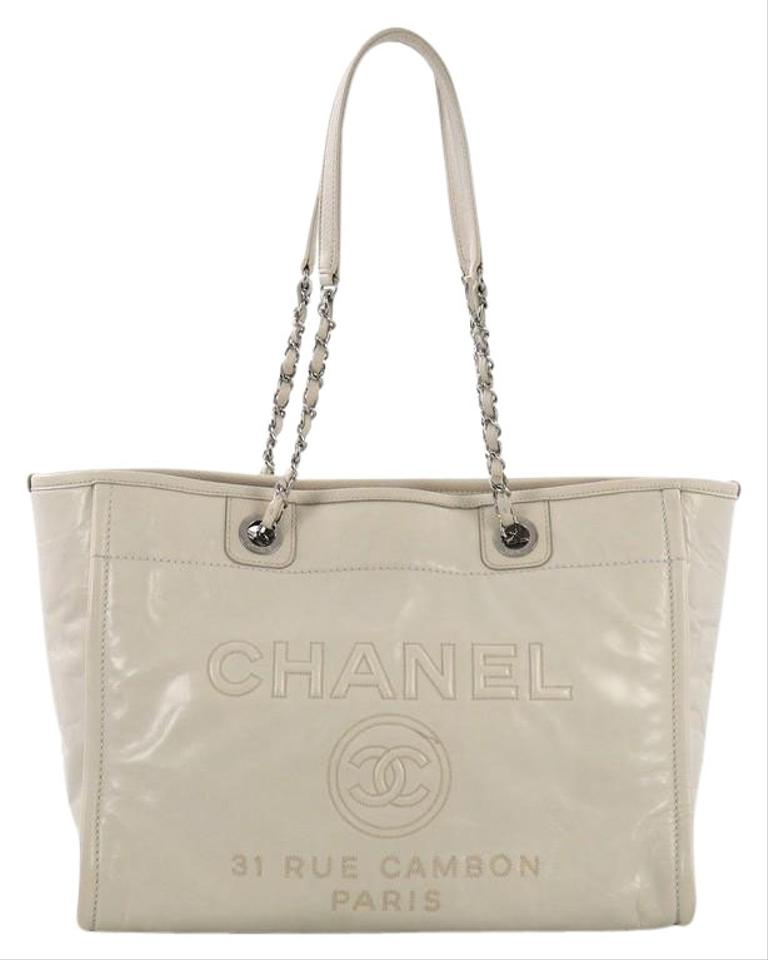 Chanel Deauville Chain Glazed Small White Calfskin Leather Tote ...