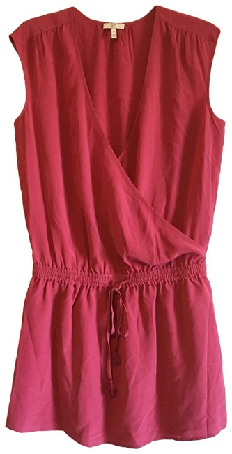 Item - Pink Wrap Drawstring Draped Crossover Faux Wrap Surplus Plunge V-neck Utility Stretch Short Night Out Dress Size 8 (M)