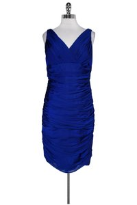 Carmen Marc Valvo short dress Blue Royal Ruched on Tradesy