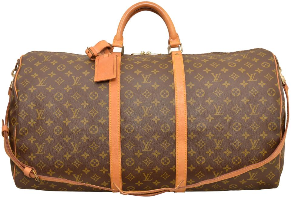 609d979fd492 Louis Vuitton Keepall Duffle 60 Bandouliere Carry On M41412 Brown Monogram  Weekend Travel Bag