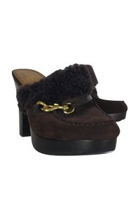 Coach Suede Shearling Brown Mules