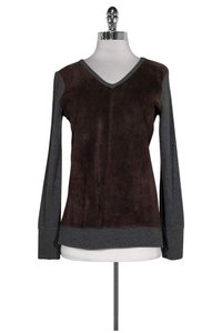Ecru Grey Brown Suede Sweater