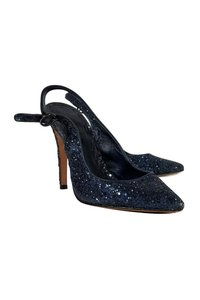 Alice + Olivia Navy Pointed Toe Glitter Blue Pumps