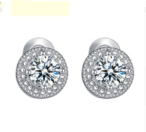 Fashion Jewelry For Everyone White Clear 18k Gold Filled Micro Round Australian Cubic Zircon Stud Earrings