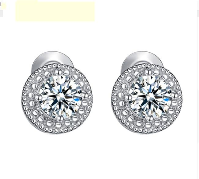 Item - White Clear 18k Gold Filled Micro Round Australian Cubic Zircon Stud Earrings