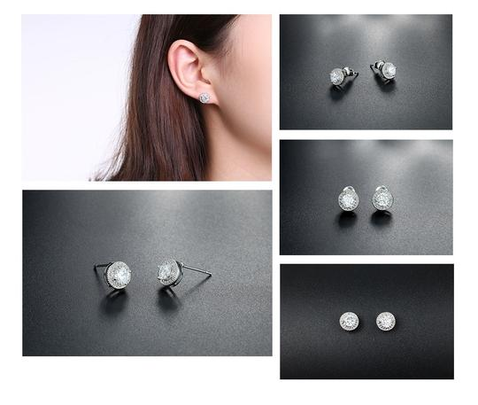 Fashion Jewelry For Everyone White Clear 18k Gold Filled Micro Round Australian Cubic Zircon Stud Earrings Image 2