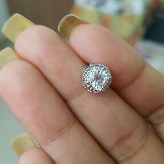 Fashion Jewelry For Everyone White Clear 18k Gold Filled Micro Round Australian Cubic Zircon Stud Earrings Image 3