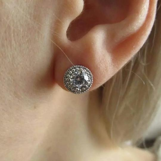 Fashion Jewelry For Everyone White Clear 18k Gold Filled Micro Round Australian Cubic Zircon Stud Earrings Image 6