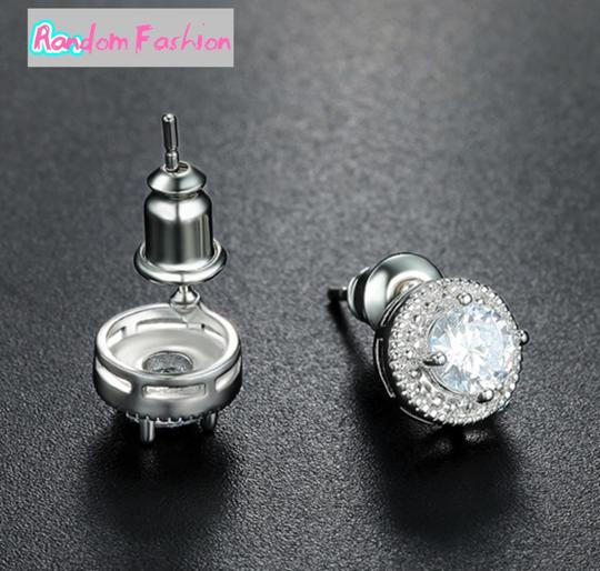 Fashion Jewelry For Everyone White Clear 18k Gold Filled Micro Round Australian Cubic Zircon Stud Earrings Image 8