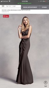 White by Vera Wang Black Polyester Long with Ruffles *in Modern Bridesmaid/Mob Dress Size 6 (S)