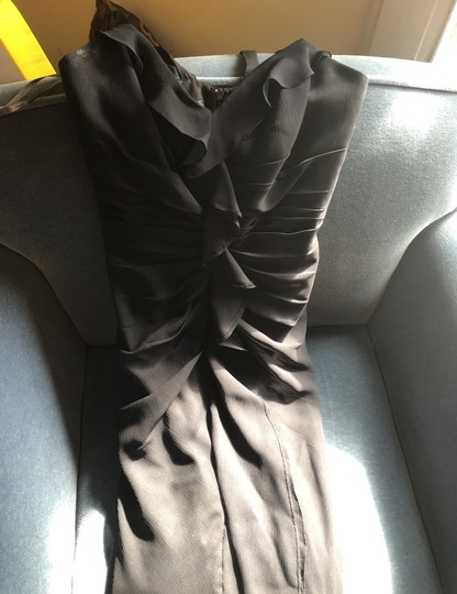 White by Vera Wang Black Polyester Long with Ruffles *in Modern Bridesmaid/Mob Dress Size 6 (S) Image 1