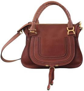 Chloé Shoulder Snakeskin Embossed Leather Satchel in Chestnut Brown
