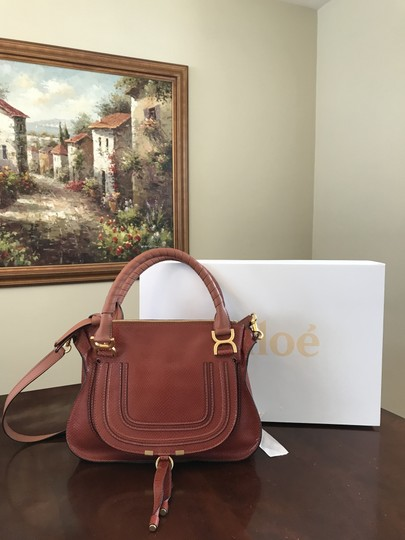 Chloé Shoulder Snakeskin Embossed Leather Satchel in Chestnut Brown Image 1