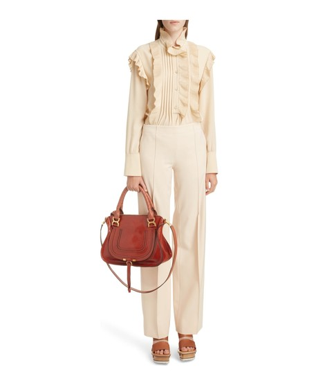 Chloé Shoulder Snakeskin Embossed Leather Satchel in Chestnut Brown Image 10