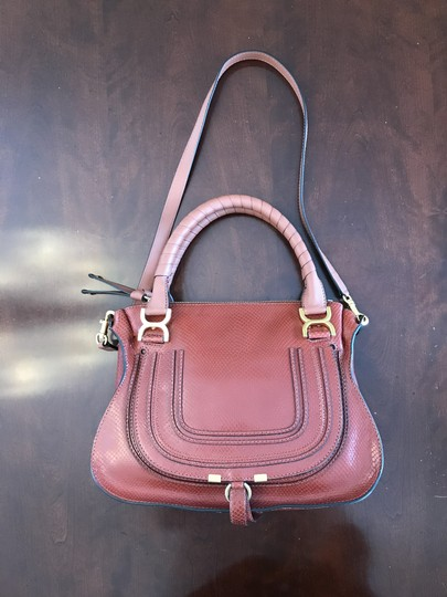 Chloé Shoulder Snakeskin Embossed Leather Satchel in Chestnut Brown Image 2