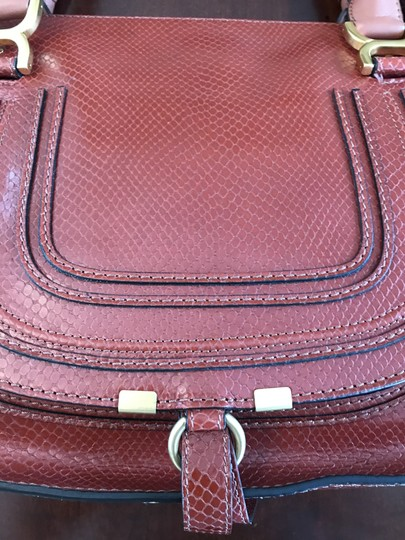Chloé Shoulder Snakeskin Embossed Leather Satchel in Chestnut Brown Image 4