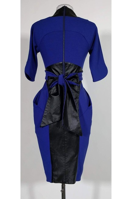 Catherine Malandrino short dress Blue Indigo Leather Trim on Tradesy Image 2