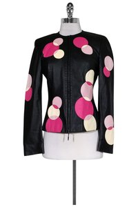 Escada Leather W/ Circles Black Jacket