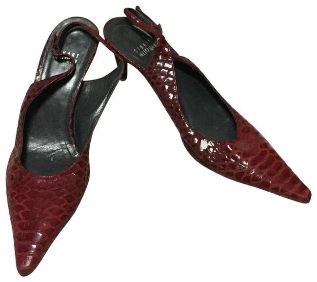 Item - Red Snake Embossed Slingback Kitten Heels Pumps Size US 7 Regular (M, B)