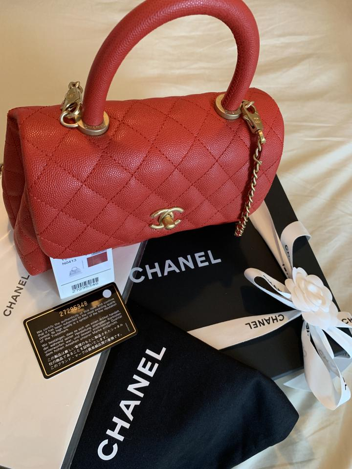 cb645e967045 Chanel Flap Bag with Top Handle Small Red Grained Calfskin & Gold ...