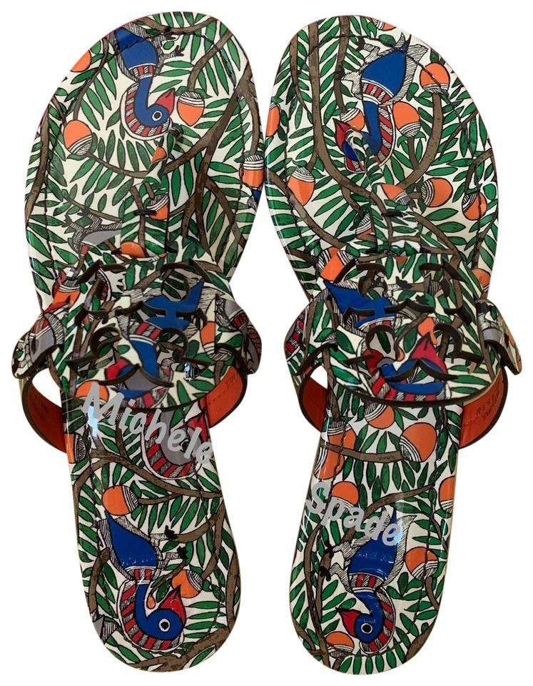 e036ee936 Tory Burch Multicolor Miller Printed Patent Leather Sandals Size US ...
