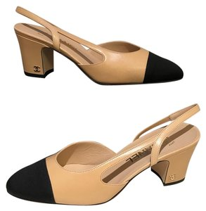 ee2334e13a2 Chanel Slingbacks Two Tone Cc Slingback Size 37.5 Beige Black Pumps