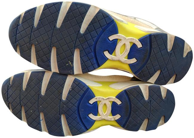 Item - White Blue and Neon Yellow Sneakers Size EU 36.5 (Approx. US 6.5) Regular (M, B)