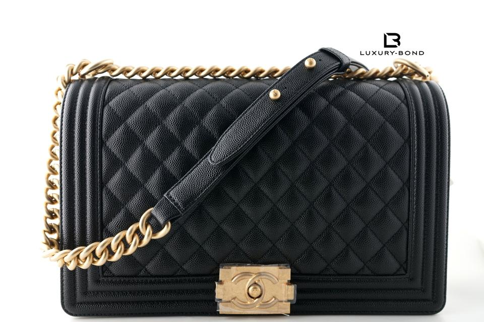 386e4fecf98e Chanel Boy Le New Medium Size Quilted Aged Gold Hardware Black ...