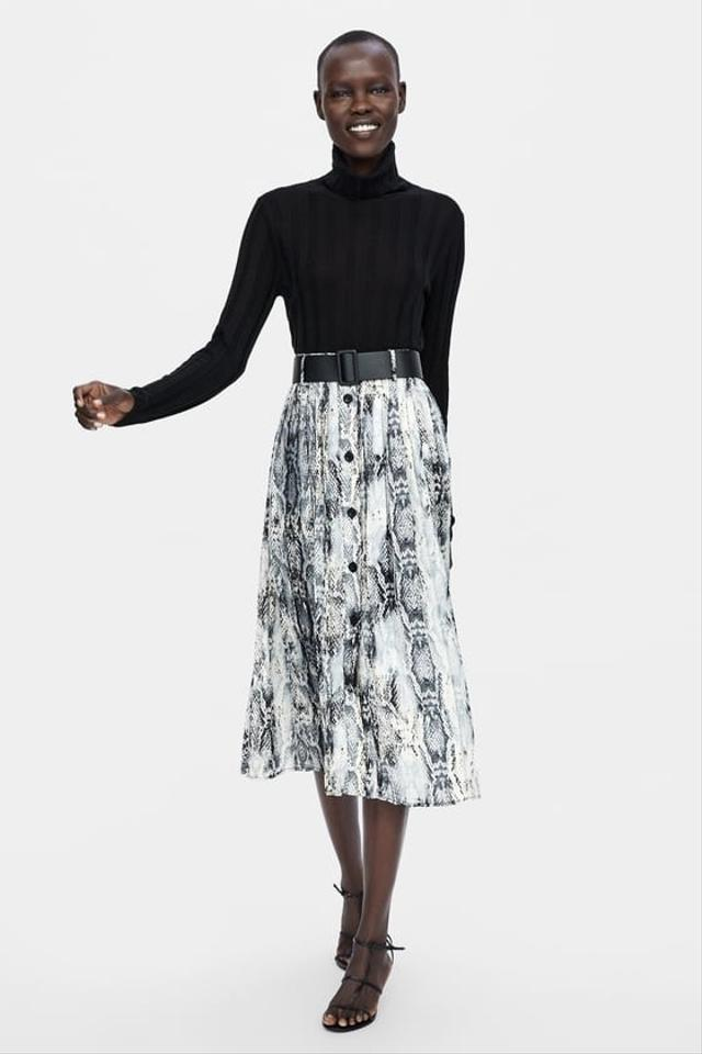 united kingdom super service classic fit Belted Snakeskin Printed Skirt