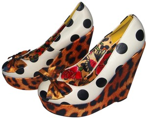 ffb075af5a5f Iron Fist Sexy Cute Polka Dots Polka Dot Leopard Print Multi-Color Wedges