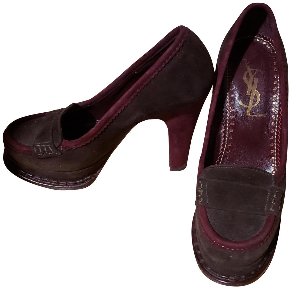 1100001be28 Saint Laurent Purple Mukti Yves Tribtoo Suede Penny Loafer Pumps ...