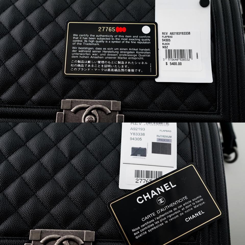 e8130660 Chanel Boy Le New Medium Size Quilted Ruthenium Hardware Black Caviar  Leather Shoulder Bag