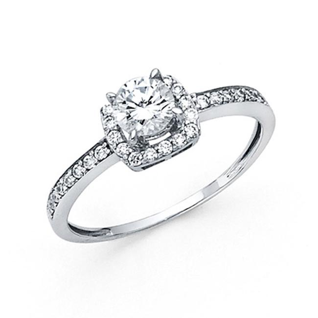 Item - White High 4-prong Round Halo Pave Sides Cz Wedding In 14k Ring