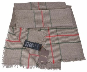 "Gucci Gucci 388168 Cotton Wool Silk Red Green Stripe Large Scarf 53"" x 53"""