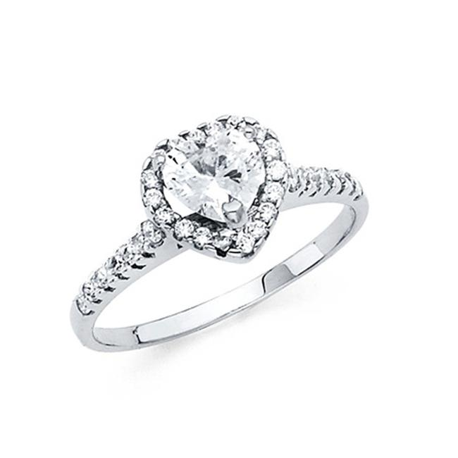 Item - White Heart-cut Halo Scalloped Side Cz Engagement In 14k Ring