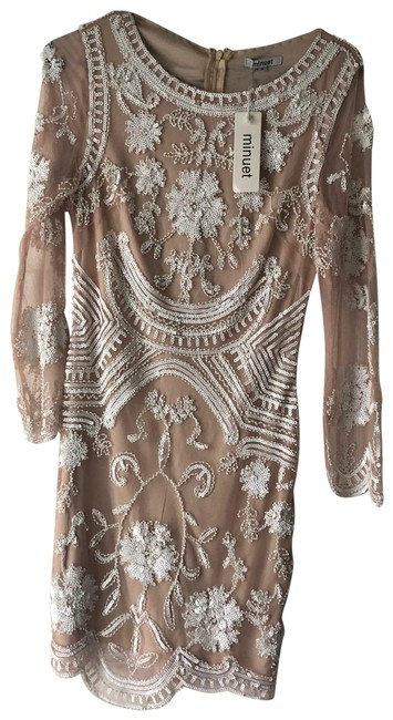 Item - White Nuptials Embellished Lace Bodycon Short Cocktail Dress Size 8 (M)