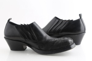 Versace Black Leather Ankle Boots Shoes