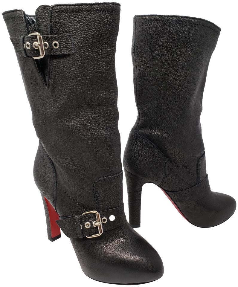 the latest b68e8 9f0ab Christian Louboutin Black Leather Flanavec Pointed-toe Mid-calf  Boots/Booties Size EU 37.5 (Approx. US 7.5) Regular (M, B) 33% off retail