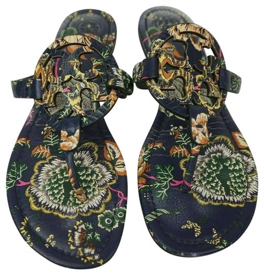 f2c4e3d92c33 Tory Burch Multicolor Miller Flip Flops Navy Happy Times Floral Leather  Sandals