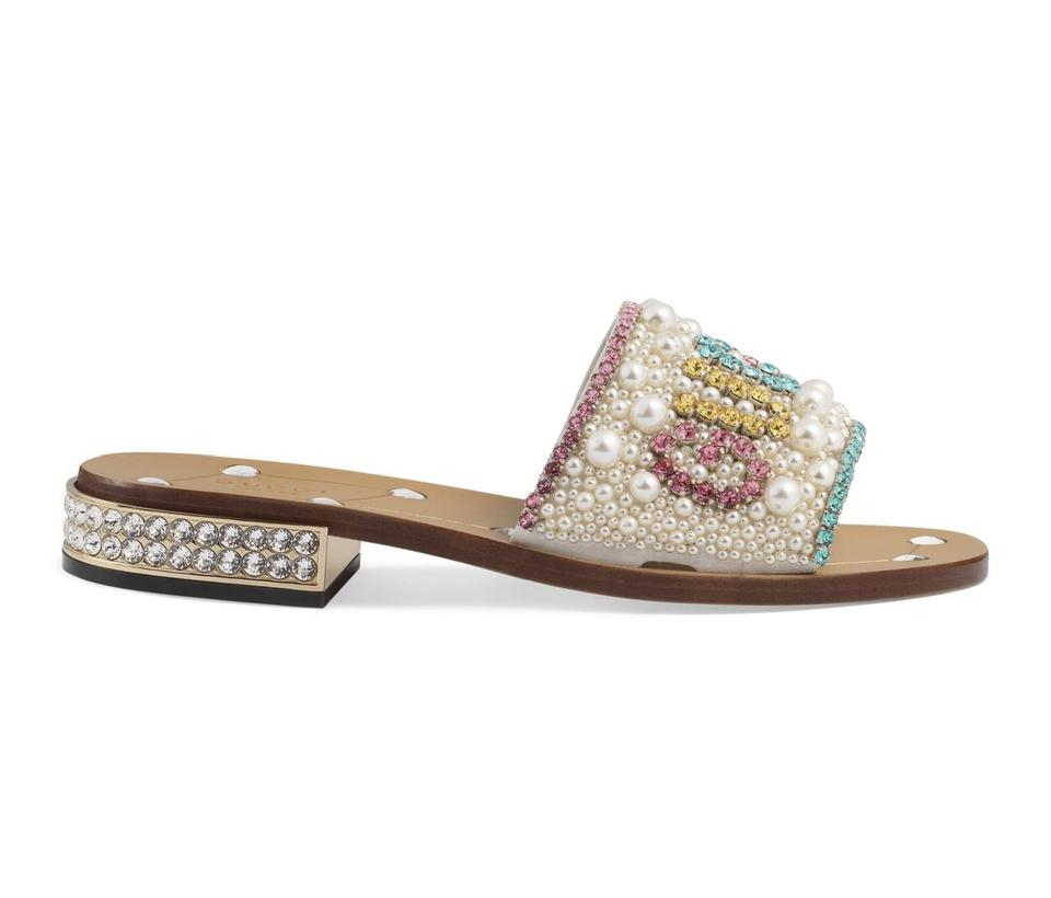 bb5d1b810a1 Gucci Multicolor Crystal and Pearl Leather 12 Sandals Size EU 42 ...