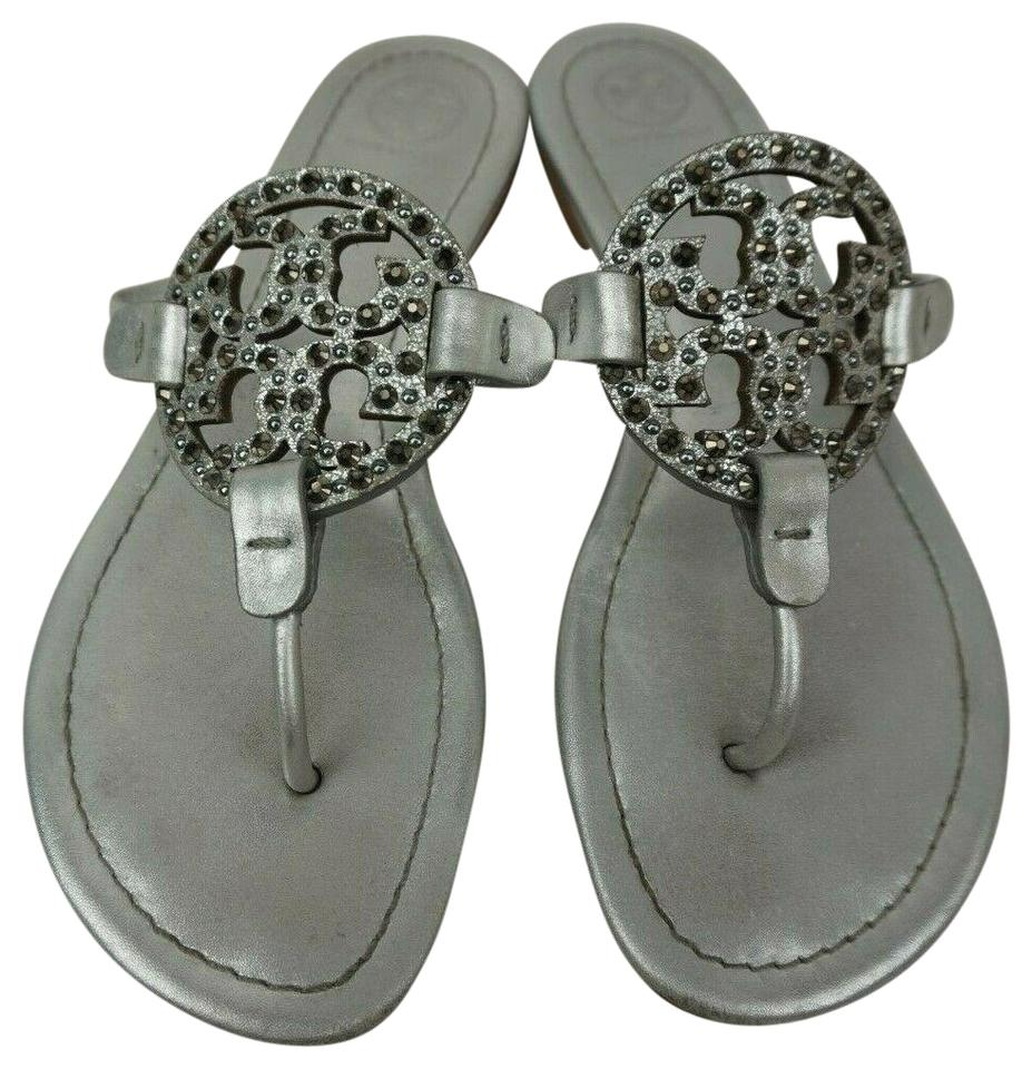 2cb33cba9 Tory Burch Silver Flip Flop Embellished Crystal Leather Sandals Size ...