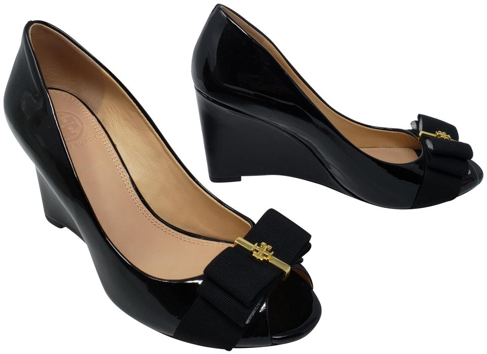 c504b39a2eb1 Tory Burch Patent Leather Gold Hardware Miller Reva Trudy Black Wedges  Image 0 ...