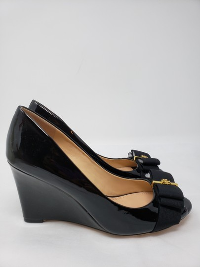 ec52c94159e Tory Burch Patent Leather Gold Hardware Miller Reva Trudy Black Wedges  Image 7