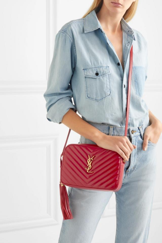 884a7b1b0e4 Saint Laurent Monogrammed Lou Medium Quilted Red Leather Shoulder ...