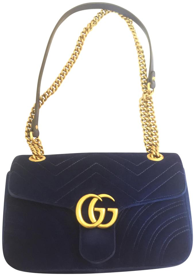 c0c3000fd946 Gucci Marmont Small Cobalt/Blue Velvet Shoulder Bag - Tradesy
