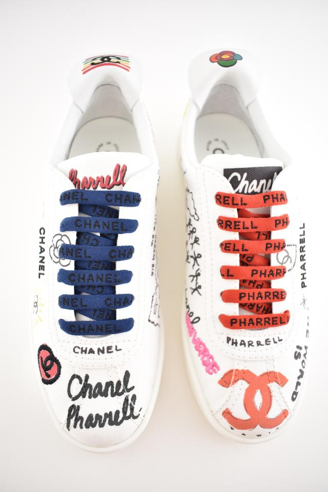 2300cbfb7 Chanel White Graffiti Pharrell 19d Cc Low Top Lace Up Flat Trainer ...