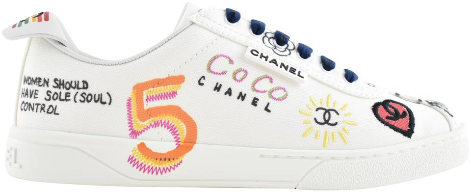 f3148b9c2 Chanel White Graffiti Pharrell 19d Cc Low Top Lace Up Flat Trainer Sneaker  Rare Sneakers. Size  EU 42 ...