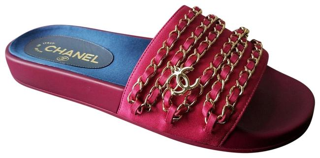 Item - Dark Fuchsia Red Tropiconic Chain Sandals Fabric Mules/Slides Size EU 36 (Approx. US 6) Regular (M, B)