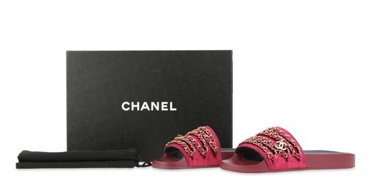 Chanel Mule Rubber Red Sandals Image 11